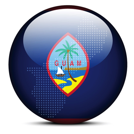 guam: Vector Image - Map on flag button of Guam
