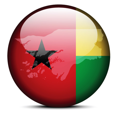 guinea bissau: Vector Image - Map on flag button of Republic of Guinea Bissau