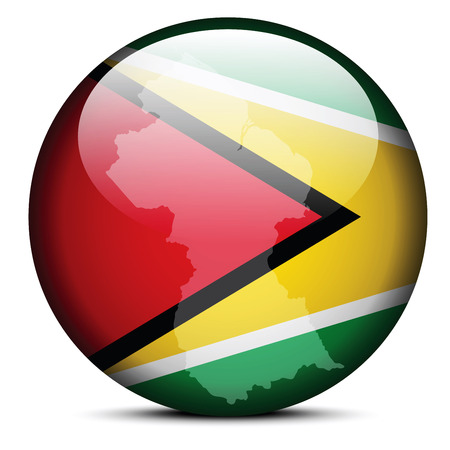 operative: Vector Image - Map on flag button of Co-operative Republic of Guyana