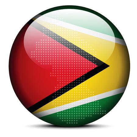 cooperativismo: Imagen vectorial - Mapa de patr�n de puntos en el bot�n de la bandera de la Rep�blica Cooperativa de Guyana