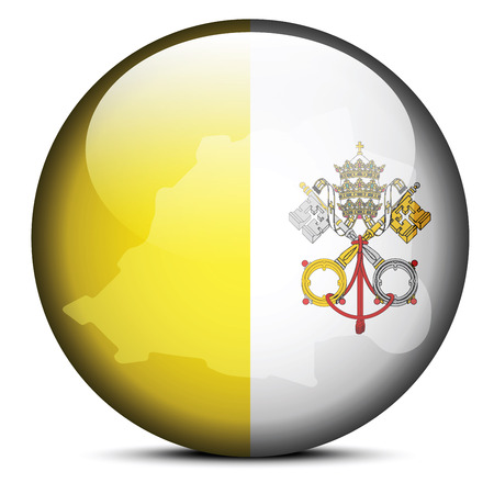 Vector Image - Map on flag button of Vatican City State (Holy See ) Illustration
