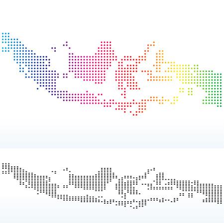 Imagen vectorial - Mapa de la República de Indonesia, con el patrón de punto Foto de archivo - 37188543
