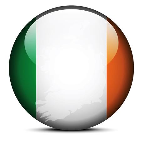 dublin: Vector Image - Map on flag button of Republic of Ireland