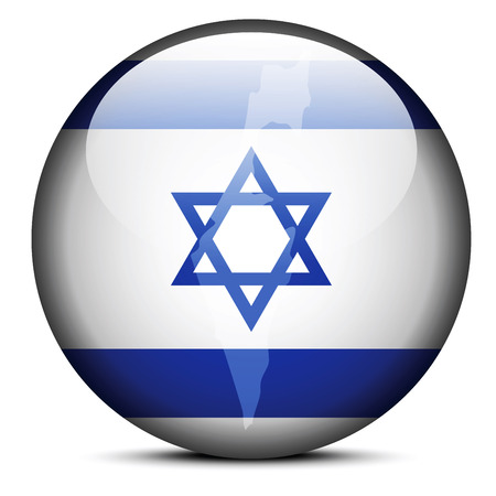Vector Image - Map on flag button of State of Israel Vector