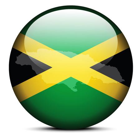 kingston: Vector Image - Map on flag button of Jamaica Illustration