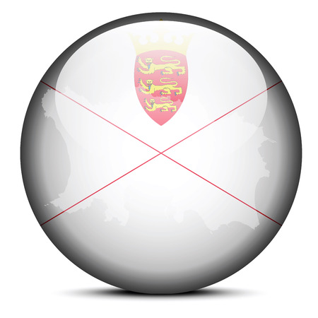 bailiwick: Vector Image - Map on flag button of Bailiwick of Jersey, British Crown dependency Illustration