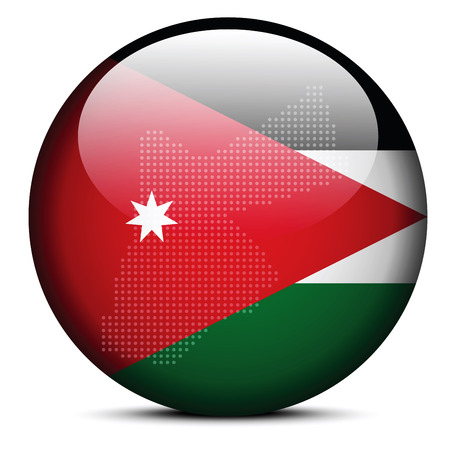 the hashemite kingdom of jordan: Vector Image -  Map with Dot Pattern on flag button of Hashemite Kingdom of Jordan Illustration