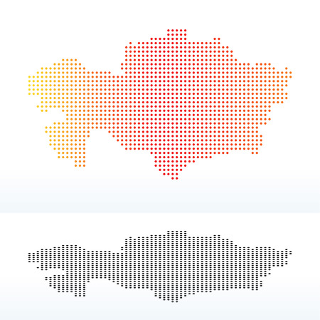 Vector Image -  Map of Republic of Kazakhstan with Dot Pattern Ilustrace