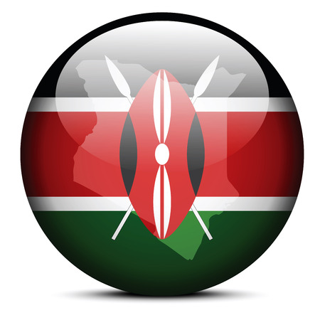 Vector Image -  Map on flag button of Republic of Kenya Vector