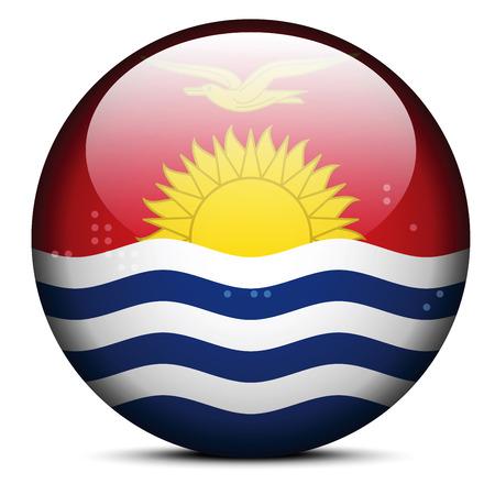 kiribati: Vector Image -  Map with Dot Pattern on flag button of Republic of Kiribati