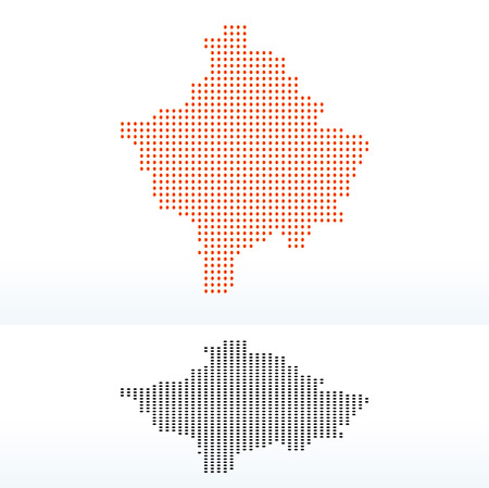 instance: Vector Image -  Map of Republic of Kosovo with Dot Pattern