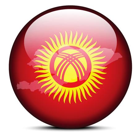 kyrgyz republic: Vector Image -  Map on flag button of Kyrgyz Republic