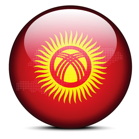 kyrgyz republic: Vector Image -  Map with Dot Pattern on flag button of Kyrgyz Republic