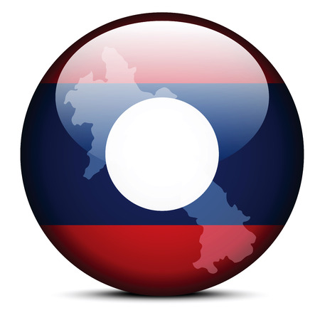 lao: Vector Image -  Map on flag button of Laos - Lao Peoples Democratic Republic Illustration