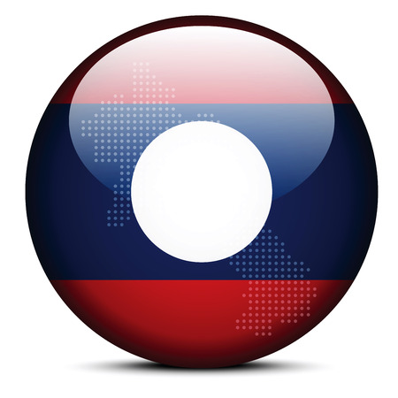 lao: Vector Image -  Map with Dot Pattern on flag button of Laos - Lao Peoples Democratic Republic