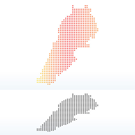 lebanese: Vector Image -  Map of Lebanese Republic with Dot Pattern Illustration