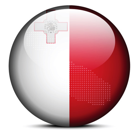 Vector Image -  Map with Dot Pattern on flag button of Republic of Malta
