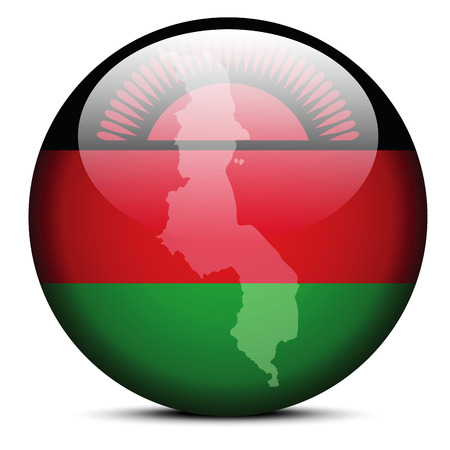malawian flag: Vector Image -  Map on flag button of Republic of Malawi