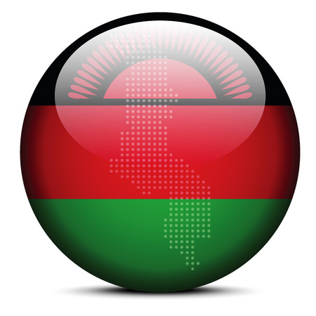 malawian flag: Vector Image -  Map with Dot Pattern on flag button of Republic of Malawi Illustration