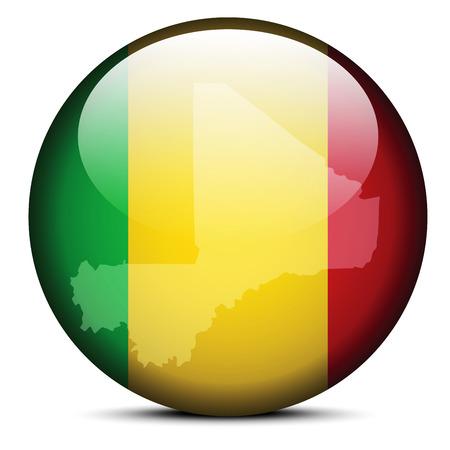 malibu: Vector Image -  Map on flag button of Republic of Mali