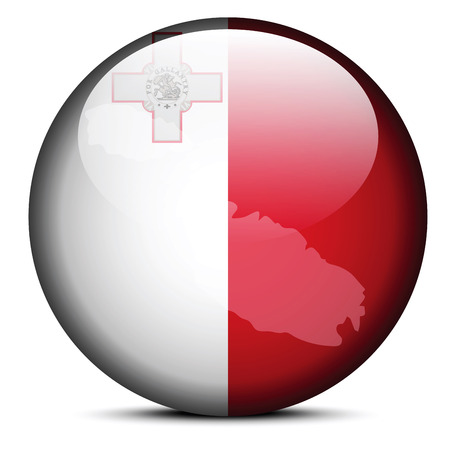 map malta: Vector Image -  Map on flag button of Republic of Malta