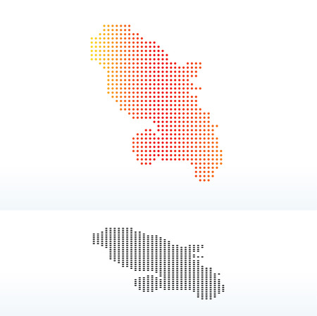 martinique: Map of Department of Martinique  Region of Martinique (French overseas region) with Dot Pattern Illustration