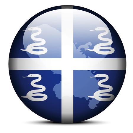 overseas: Mapa en el bot�n de la bandera del departamento de Martinica Regi�n de Martinica (regi�n francesa de ultramar) Vectores