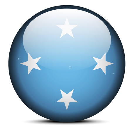 federated: Vector Image -  Map with Dot Pattern on flag button of Federated States of Micronesia