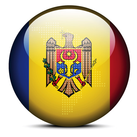 moldovan: Vector Image - Map with Dot Pattern on flag button of Republic of Moldova