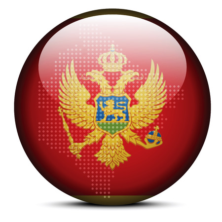 Vector Image -  Map with Dot Pattern on flag button of Montenegro Illustration