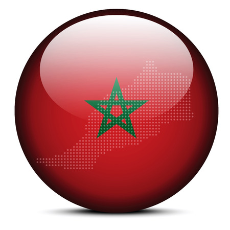 berber: Vector Image -  Map with Dot Pattern on flag button of Kingdom of Morocco Illustration