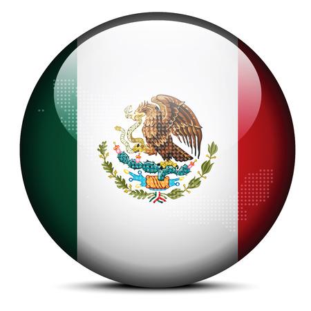bandera de mexico: Imagen vectorial - Mapa de patr�n de puntos en el bot�n de la bandera de Estados Unidos Mexicanos