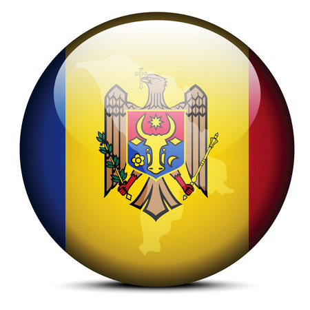 moldovan: Vector Image -  Map on flag button of Republic of Moldova
