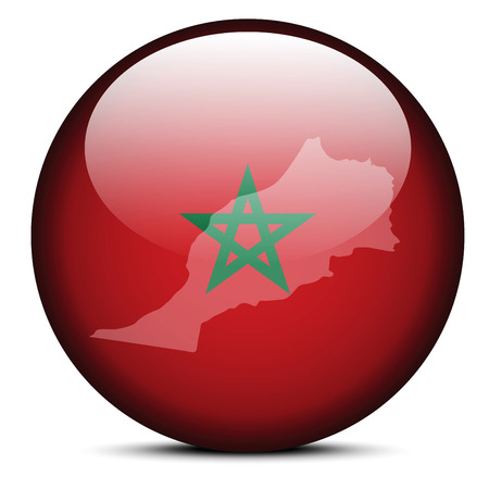 berber: Vector Image -  Map on flag button of Kingdom of Morocco Illustration