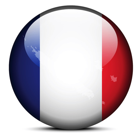 french flag: Vector Image -  Map on flag button of New Caledonia, French sui generis community