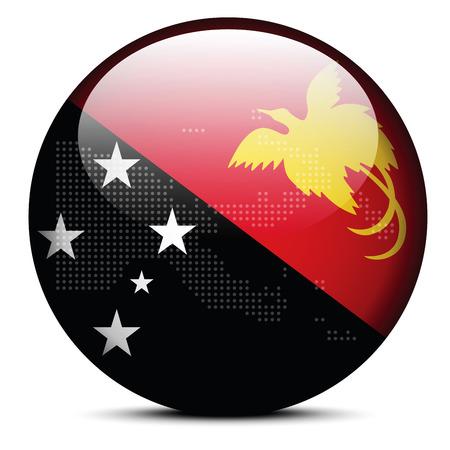 papouasie: Vectoriel - Carte de mod�le de point sur le bouton du pavillon de l'Etat ind�pendant de Papouasie-Nouvelle-Guin�e