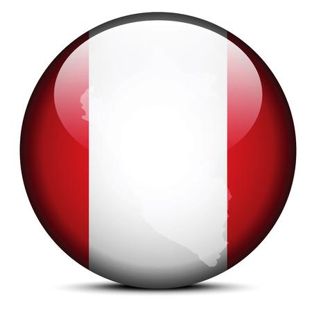 mapa del peru: Imagen vectorial - Mapa en el bot�n de la bandera de la Rep�blica de Per� Vectores