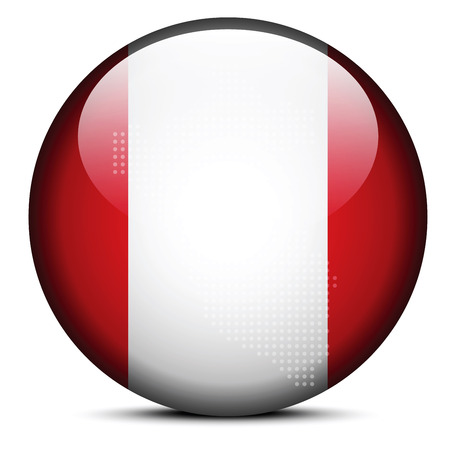 republic of peru: Vector Image - Map with Dot Pattern on flag button of Republic of Peru