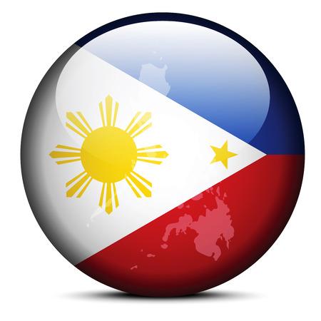 Imagen vectorial - Mapa en el botón de la bandera de la República de Filipinas Foto de archivo - 37700818