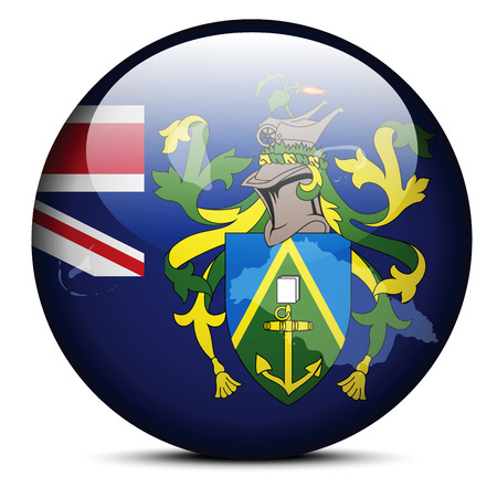 pitcairn: Vector Image - Map on flag button of Pitcairn Islands