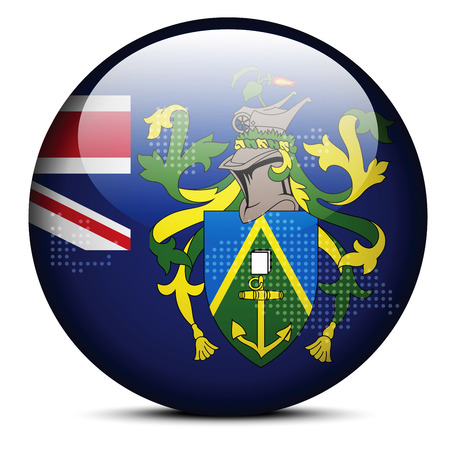 pitcairn: Vector Image - Map with Dot Pattern on flag button of Pitcairn Islands