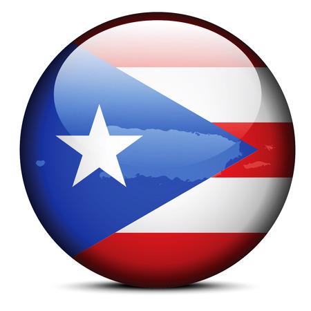 associated: Vector Image - Map on flag button of Freely Associated State of Puerto Rico Illustration