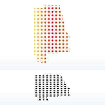 alabama state: Vector Image - Map of USA Alabama State with Dot Pattern Illustration