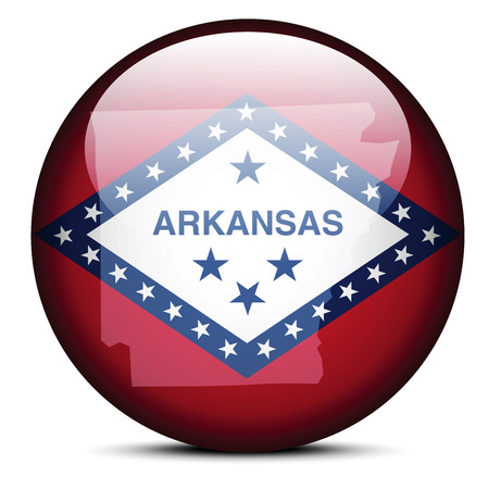 arkansas state map: Vector Image - Map on flag button of USA Arkansas State Illustration