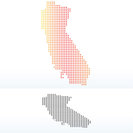 land mark: Vector Image - Map of USA California State with Dot Pattern Illustration