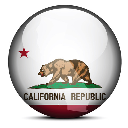 california state: Vector Image - Map on flag button of USA California State Illustration