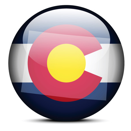 colorado flag: Vector Image - Map on flag button of USA Colorado State