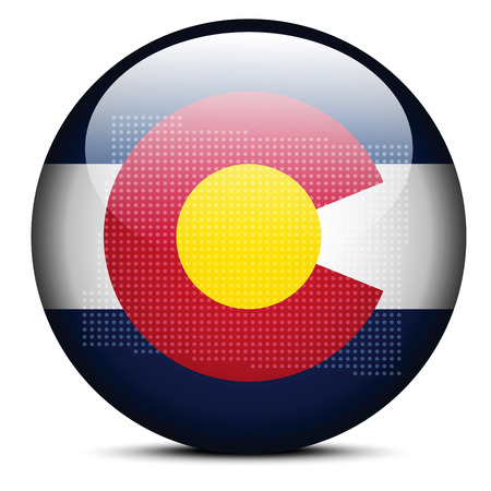 flag of colorado: Vector Image - Map with Dot Pattern on flag button of USA Colorado State