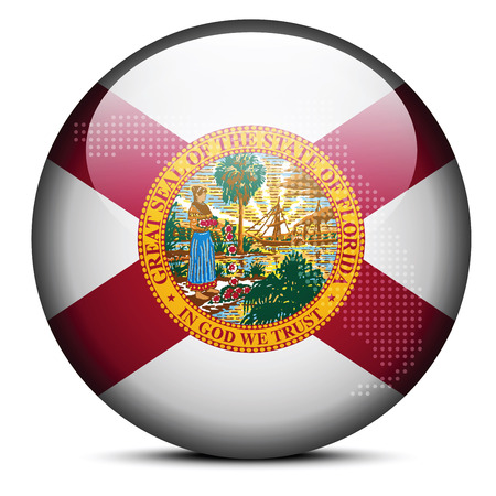 florida state: Vector Image - Map with Dot Pattern on flag button of USA Florida State Illustration