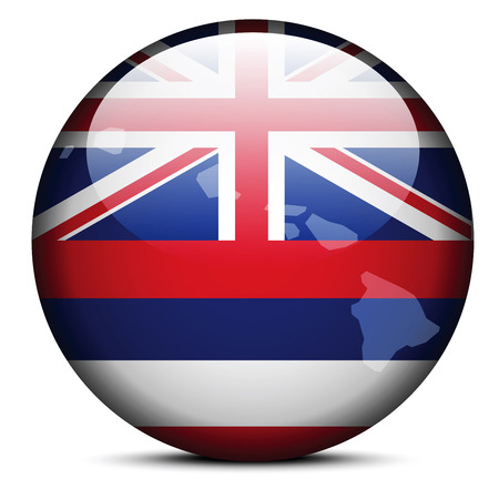 Vector Image - Map on flag button of USA Hawaii State Illusztráció